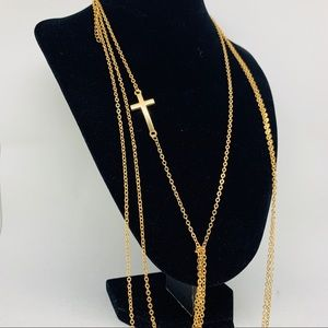 My 18k gold dipped cross necklace